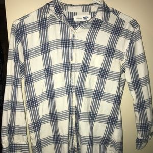Old Navy Blue and White Long Sleeved Flannel
